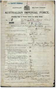 Charles Allen's WWI attestation form