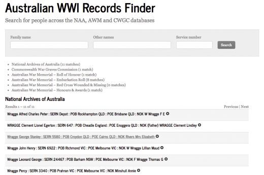 The Australian WWI Records Finder