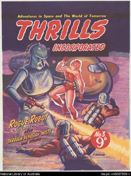 Proof cover for Rogue Robot, Thrills Incorporated pulp series, 1951. By Belli Luigi.