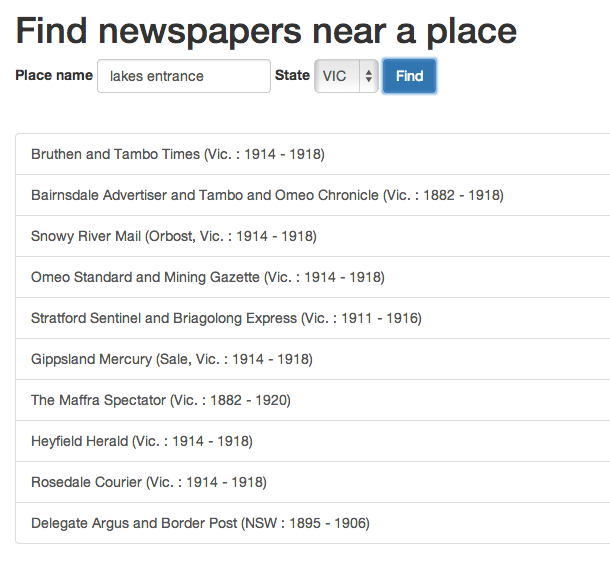 Find Trove newspapers by place
