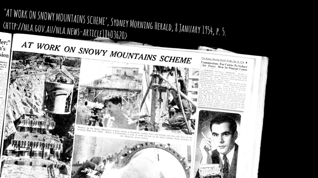 'AT WORK ON SNOWY MOUNTAINS SCHEME', Sydney Morning Herald, 8 January 1954, p. 5.