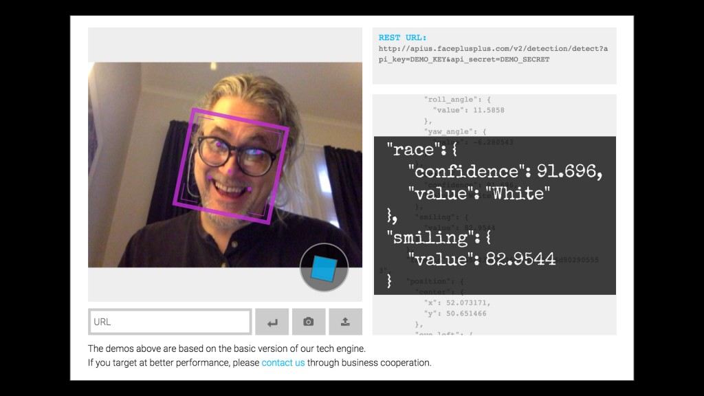 An 82.9% value smile according to the Face++ API demo